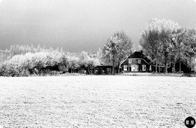 Winter landscape with farm