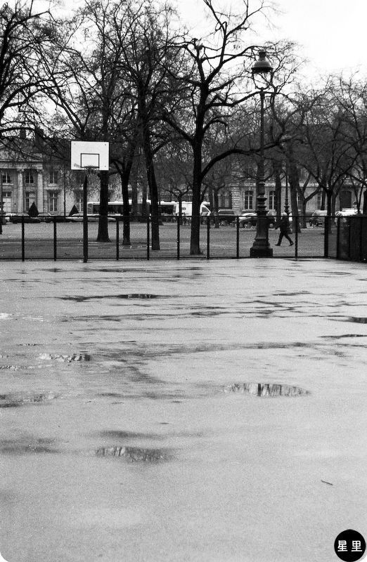 Basketball court in the rain