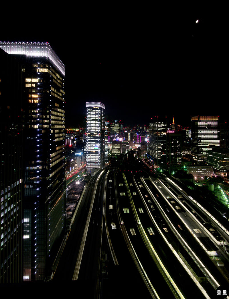 Moon over Tokyo station