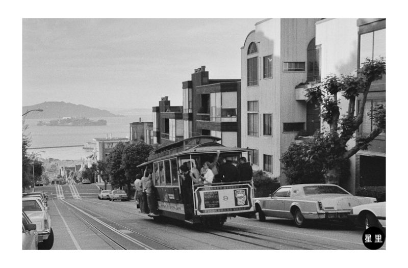 Cable car with Alcatraz in the background