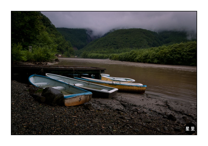 Boats on Taishoike pond, Kamikochi, Japan