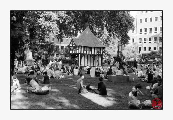 Soho Square on an early summer's evening