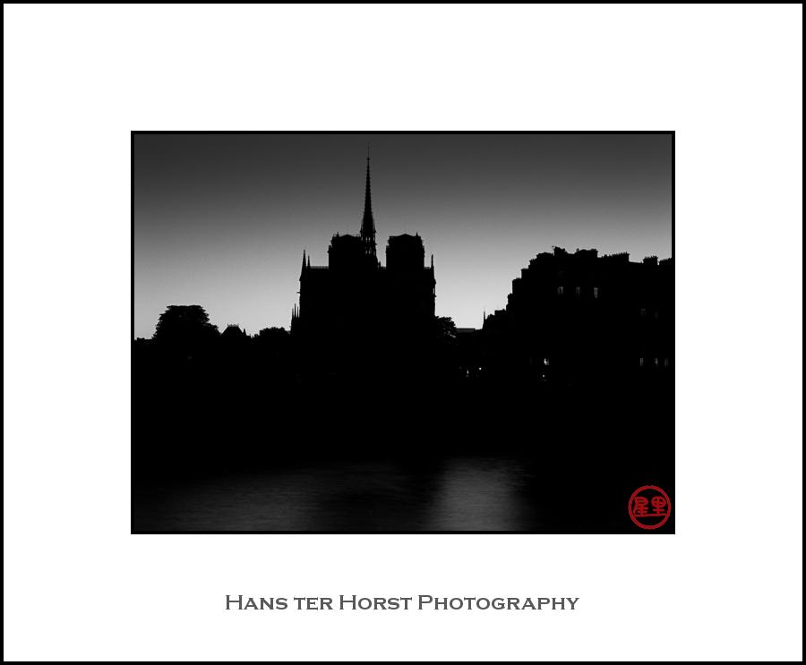 Notre Dame in silhouette