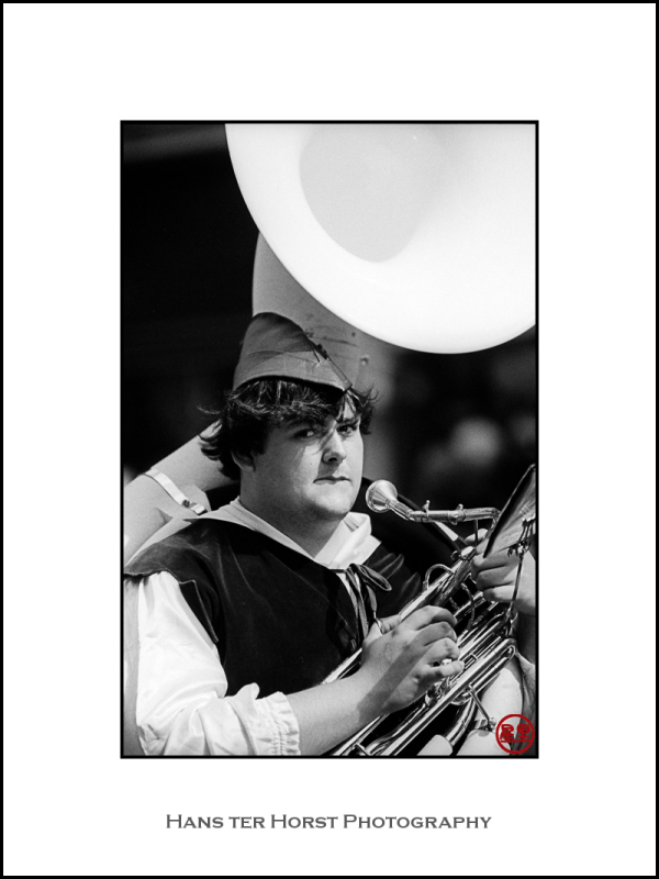Bass player in the brass band