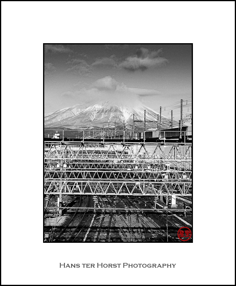 Iwate-san covered in clouds from Morioka station