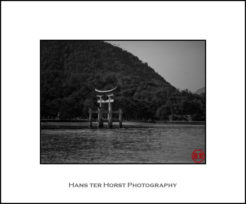 Floating torii at Miyajima and the mountain