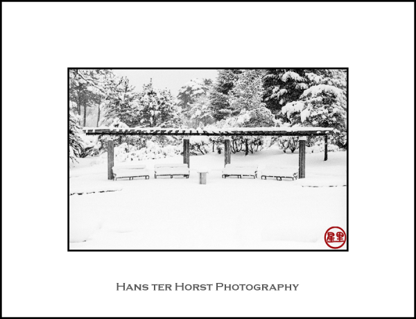 Benches in the snow, Hanamaki