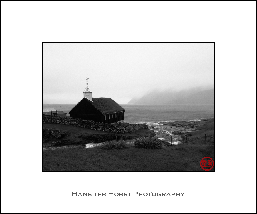 Faroe: church of Funningur in the storm