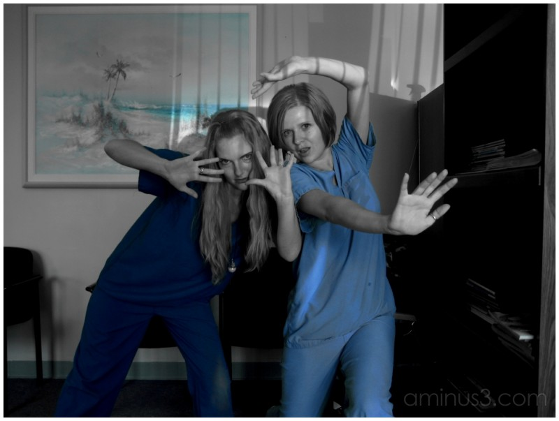 Seeing blue(our scrubs.)
