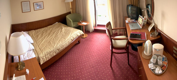 A panorama of my hotel room.