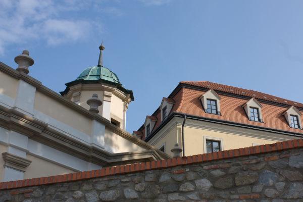 A shot taken outside the walls of a castle.
