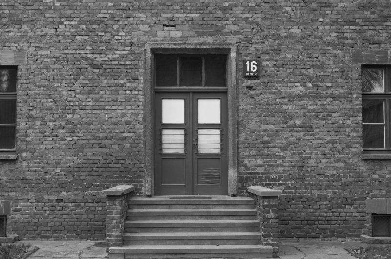 An entrance to one of the buildings in Auschwitz.