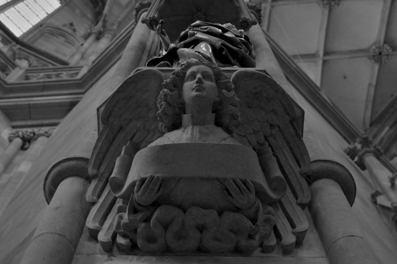 A statue in a cathedral in Prague.