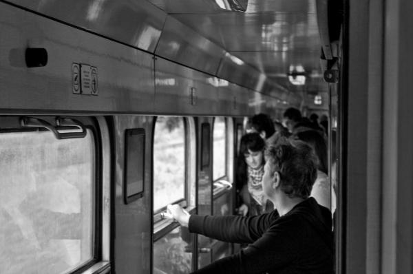Poeple on a train.
