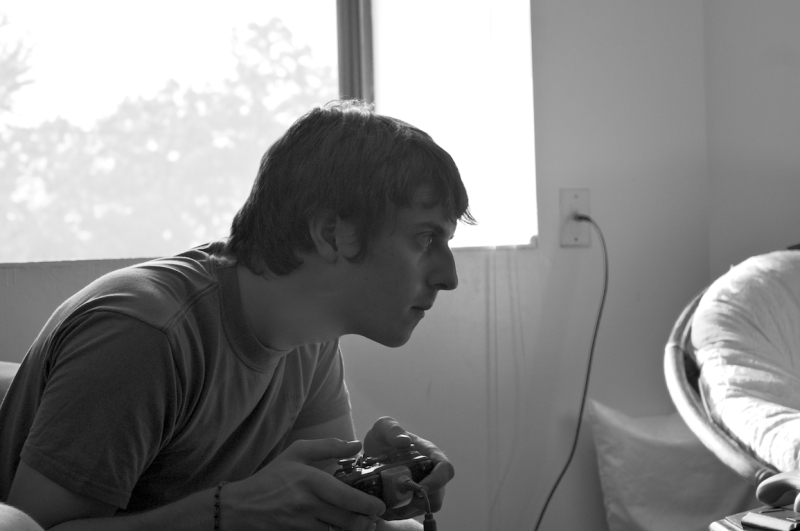 My brother playing video games
