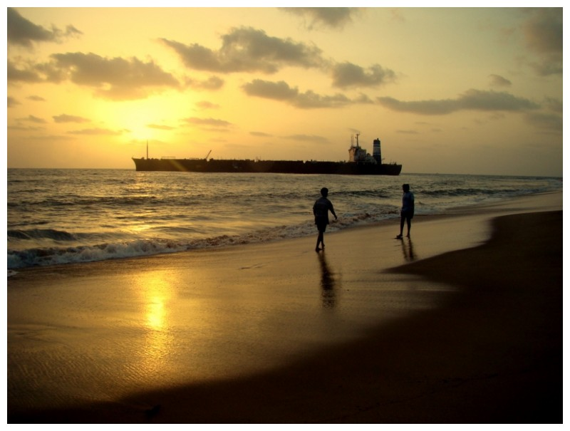 The Sunset on the Sea at Candolim, Goa