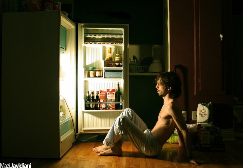 me meditating in front of fridge