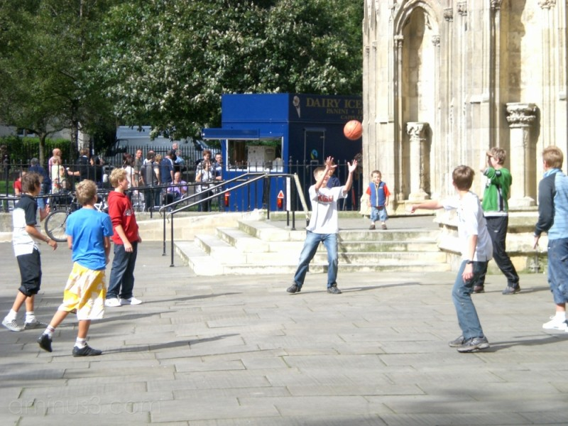Playing Ball by the Minster