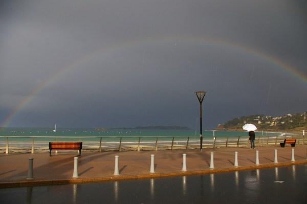 trestraou perros guirec rainbow arc en ciel mer