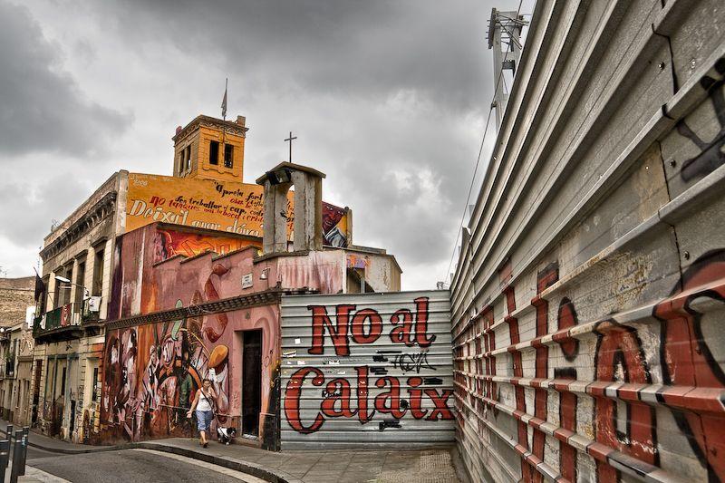 Pintadas revindicadoras en Barcelona
