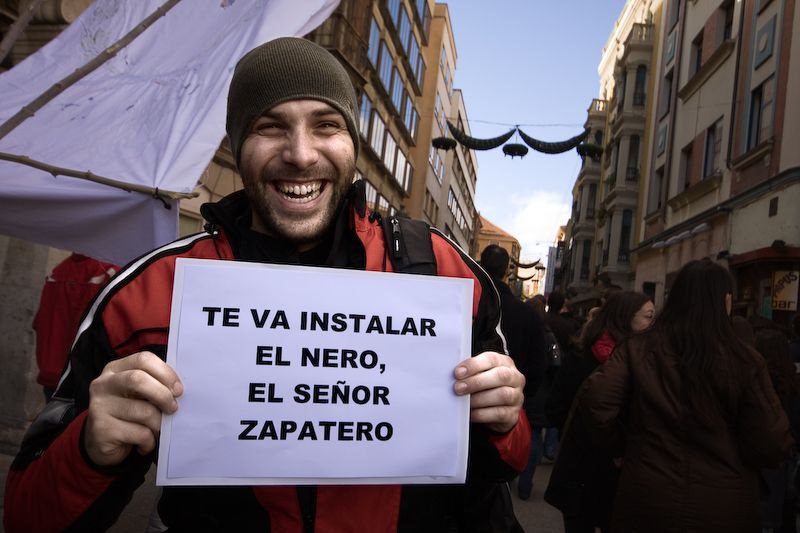 Sergio en la manifestación