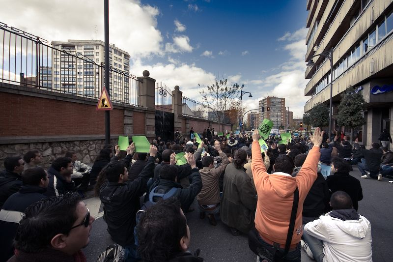 Parados durante la manifestación