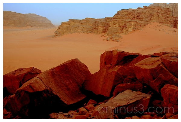 Chocolate Boulders -- Red Sand, Wadi Rum, Jordan