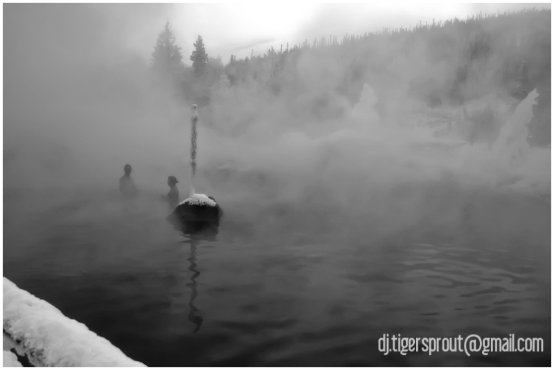 2 Bathers, Chena Hot Springs, Alaska (Mono)