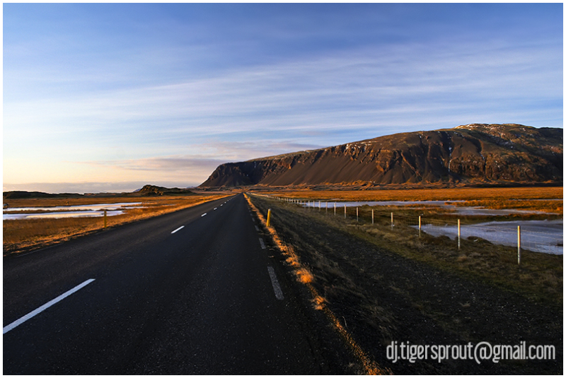 On the Road in Winter Twilight, Southern Iceland