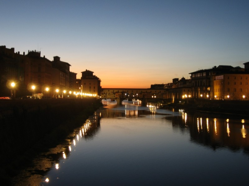 A Snapshot of the Ponte Vecchio at Night