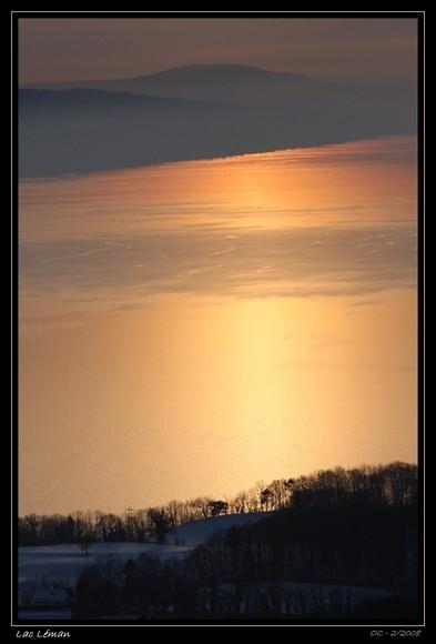 sunset light on the geneva lake lac leman