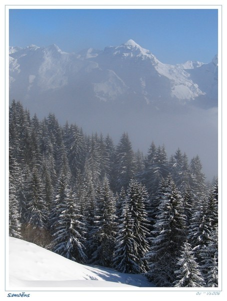 blue sky on samoens , mountains