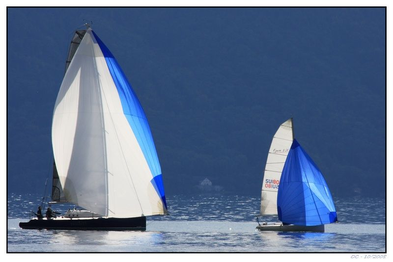 Sailing boats on the Geneva Lake (Lac Léman)