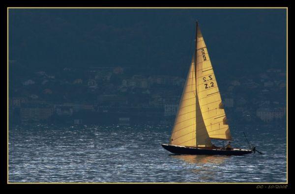 Sailing alone on the Geneva Lake Lac Léman light