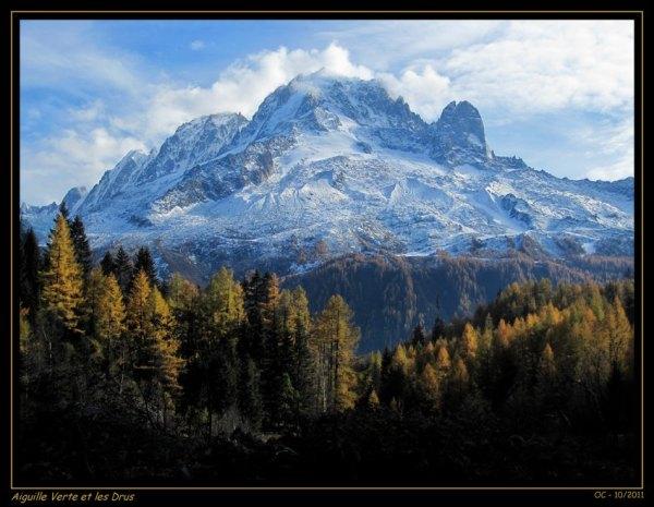 Les Drus Aiguille Verte Chamonix  Mountains Automn