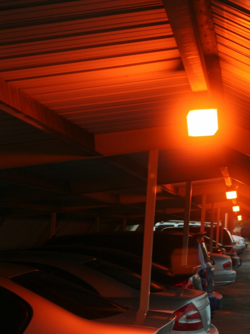 car park shed lit by dawn