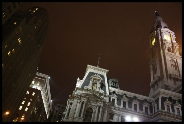 Philadelphia town hall by the night