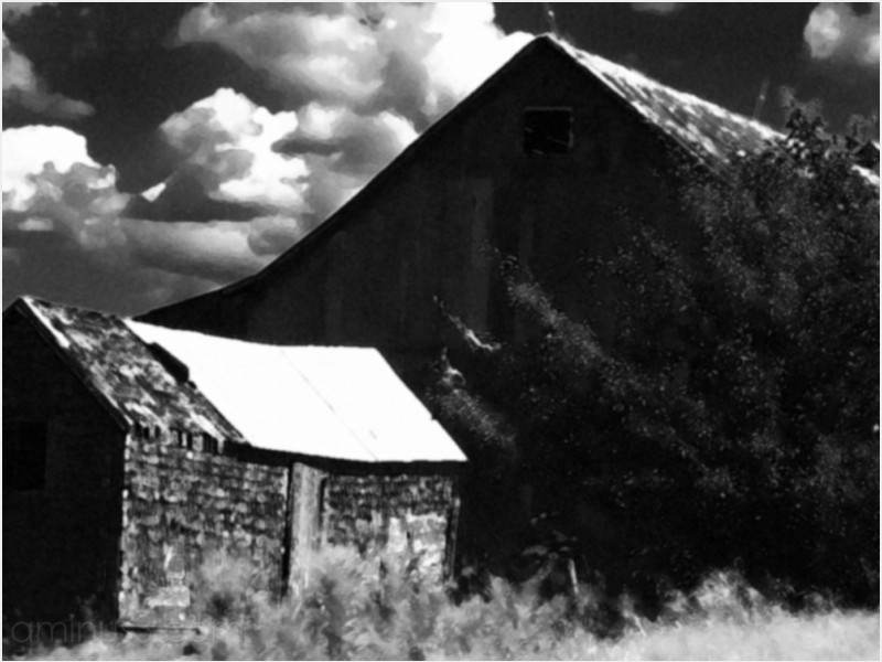 rural ruin agriculture barn clouds