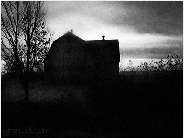 house barn tree darkness dusk light spooky