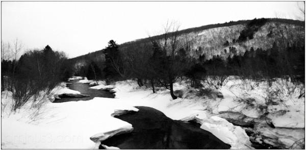 spring ice breakup glenlevit woods trees river roa