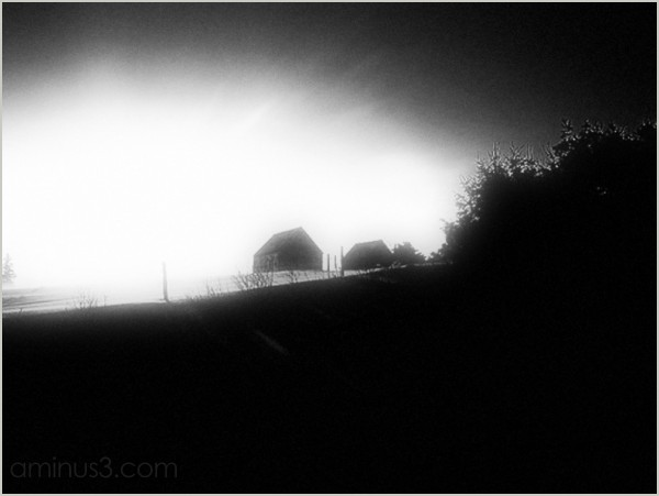 early-morning sunrise barns hilltop farm homeward