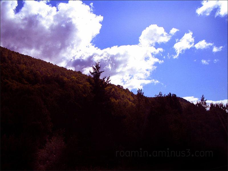 fall autumnal hillside clouds expired-film roamin