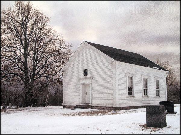 snow church churchyard graveyard roamin