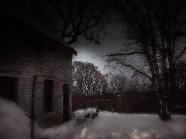 barn december structure nightfall twilight snow