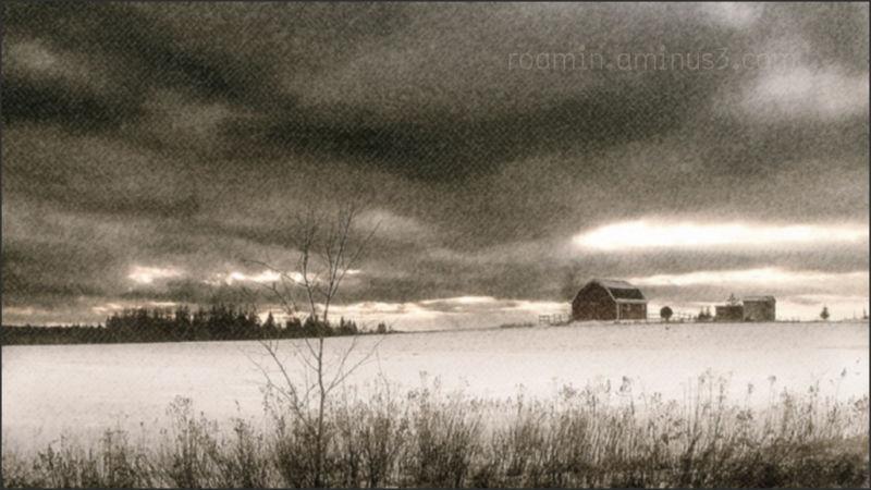 roamin snowfall afternoon-walk farm barn winter