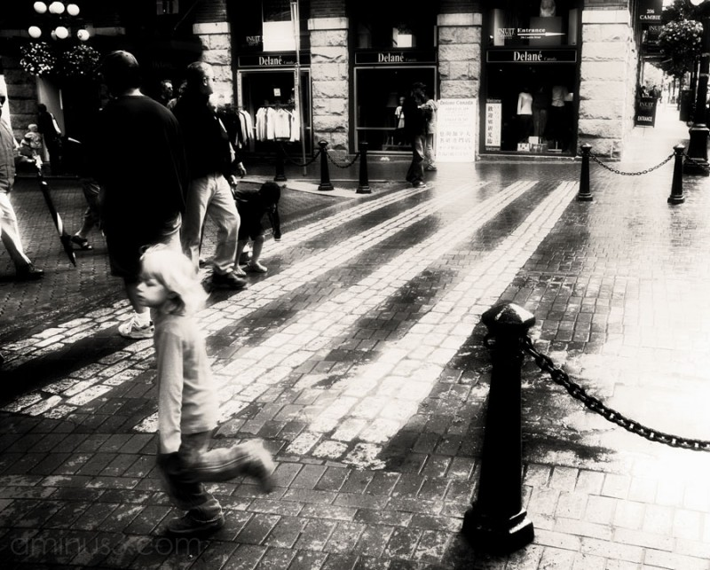young girl running on the street in a dream