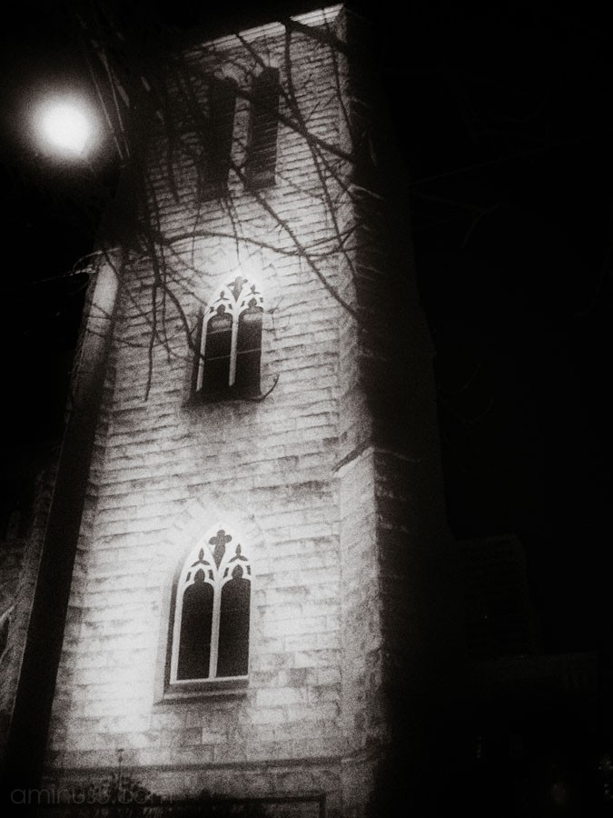 old spooky church at night