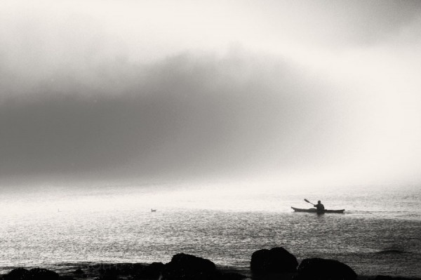 man in kayak paddling in ocean in fog