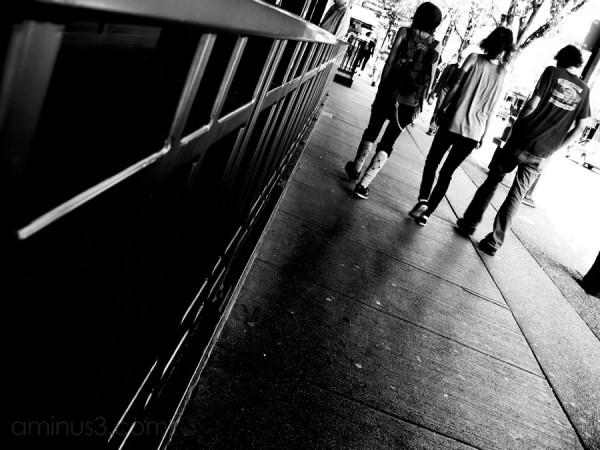 3 punks walking down granville street