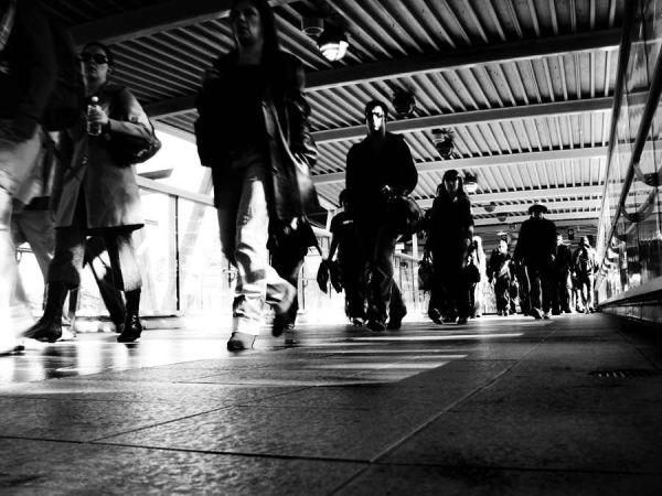 People walking at feet level